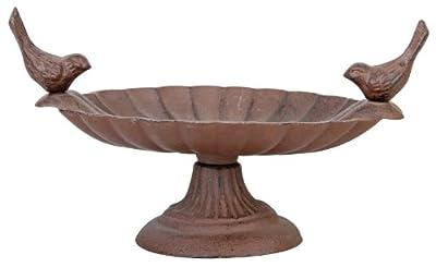 Esschert Design Vogeltränke, Vogelbad mit kurzem Fuß aus Gusseisen, ca. 24 cm x 15 cm x 13 cm von Esschert - Du und dein Garten