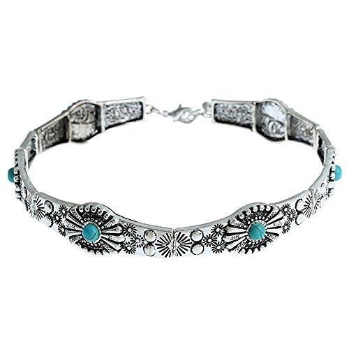 Pinzhi1 PEC F605 Legierung Kragen Halskette einstellbar Kette mit Spange und blauer Perle Perlen-halskette Spangen