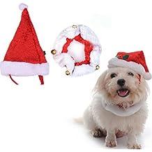bescita Set mascota perro gato cuello y gorro de Papá Noel de Navidad con campanas de Navidad Nochebuena