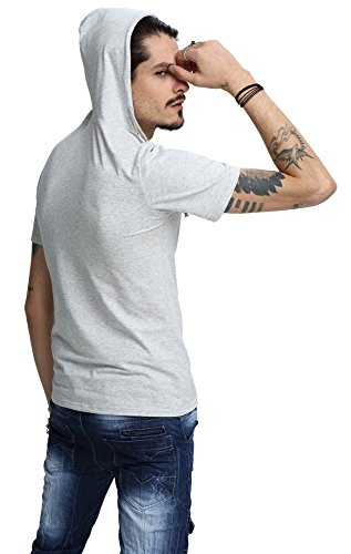 Whatlees Herren Basic reguläre Passform Kapuzenpullover aus weiches Jersey B025-gray
