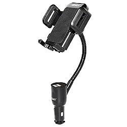 SOAIY 3-in-1 Universal KFZ Auto Halterung mit Ladegerät Dual USB Zigarettenanzünder Netzteil Ladefunktion inkl. LED-Autobatterieanzeige 3.1A 12/24V kompatibel mit Smarthpones iPhone Samsung