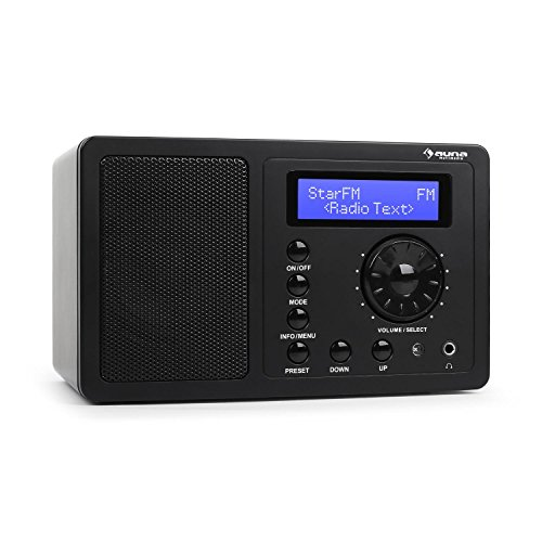 auna DR-130 BT • Digitalradio • Küchenradio • Radiowecker • DAB / DAB+ / UKW-Tuner • Bluetooth • drahtlose Musikwiedergabe • Stereo-Breitbandlautsprecher • RDS • Dual-Weckfunktion • Sleep-Timer • Snooze • Dimmfunktion • Fernbedienung • schwarz