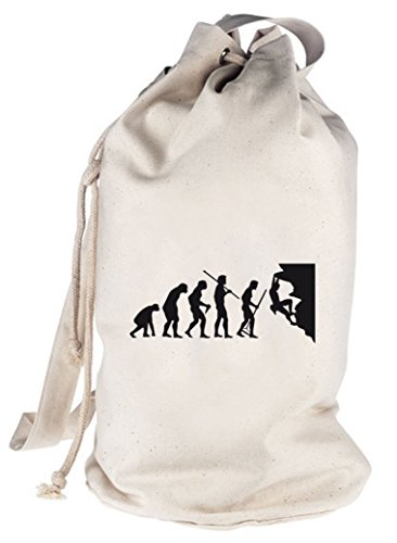 Shirtstreet24, EVOLUTION CLIMBER, klettern bedruckter Seesack Umhängetasche Schultertasche Beutel Bag Natur