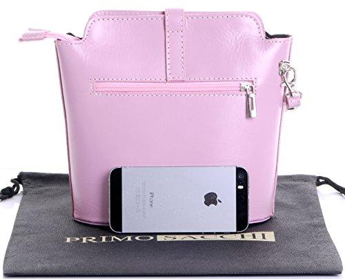 Italienisch Weichleder, Kleine Cross Body oder Umhängetasche Handtasche. Enthält eine Schutzaufbewahrungstasche. Babyrosa