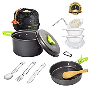 9804eac2766 Overmont Ultralight Camping Cookware Set Outdoor Cooking Mess Kit Pots Pans  Camp Kettle Portable for Backpacking Hiking Trekking Picnic Fishing ...