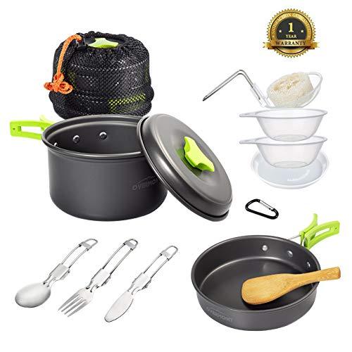 Overmont DS-200 14 in 1 Set di utensili da cucina Pentole Campeggio Vaschette Coperte per campeggio escursioni all\'aria aperta