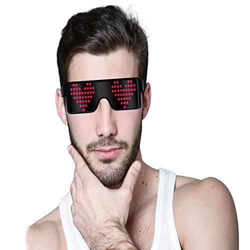 f53b8a3d68 Umiwe Gafas LED de neón, Gafas con luz de Obturador con 8 Modos de luz