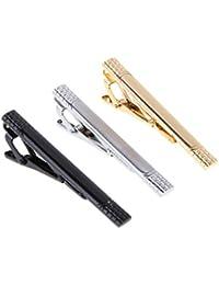 Dabixx 3 Piezas Clip de Corbata para Hombre, Barra de Color Mixto Alloy Mirror Classic Stripe Business Accesorio
