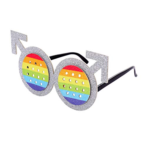 Amosfun Regenbogen Brille Gay Eyelasses für Schwule Lesben LGTB Party Kostüm Foto Requisiten (Schwuler Kostüm)