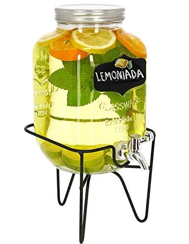 Frei Von Zucker-punsch (Getränkespender 3,5 Liter aus Glas Dispenser mit Ständer mit Zapfhahn Retro | Auch mit Etikett und Kreide |Für Limonade Wasser Saft Bowle Drinking Grill BBQ Hochzeit Geburstag Party Kinder-M&M Amazing)