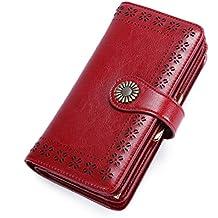 Cartera Mujer Piel Auténtica Elegante Portateléfono Billetera Mujer Tarjeta de Crédito Llaves Broche Grande Monedero Portatarjetas