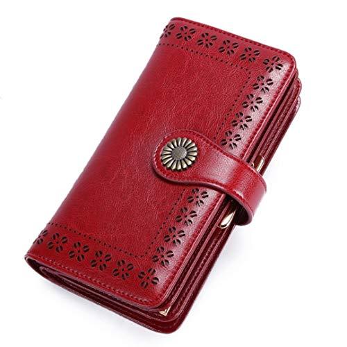 Cartera Mujer Piel Auténtica Elegante Portateléfono Billetera Mujer Tarjeta de Crédito Llaves Broche Grande Monedero Portatarjetas Album Euros para Teléfonos con Protección RFID Cremallera Doble