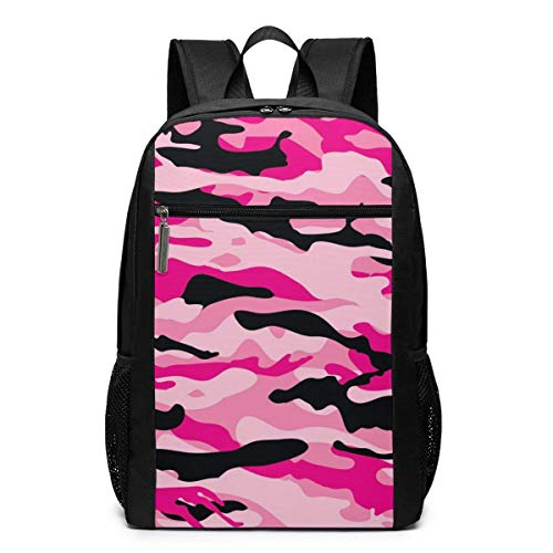 TRFashion Rucksack Pink Camo Camouflage Laptop Computer Backpack 17 Inch Stylish Casual Travel Daypack Laptop Bag Schoolbag Book Bag for Men Women Black