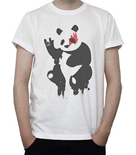 Giant Panda Rock'n'Roll Funny KISS Inspired Mens T-Shirt Blanc