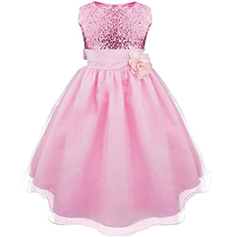 iEFiEL Girls Sequinned Dress Flower Princess Sleeveless Formal Party Wedding Bridesmaid Tulle Dresses Pink 8-9 Years