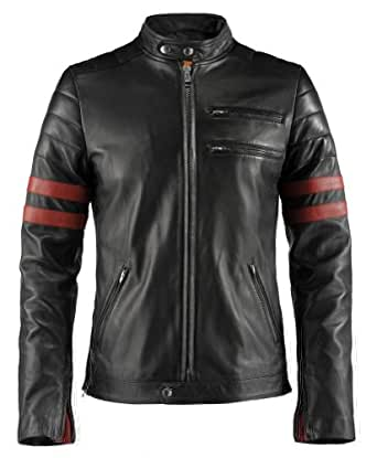 "Hybrid Mens Leather Jacket made in Italy (XS (34""-36""), Black/Red)"