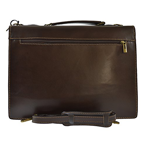 CTM Unisex Business-Tasche, Aktentasche aus echtem Leder hergestellt in Italien D7003 - 38x28x12 Cm Dunkelbraun