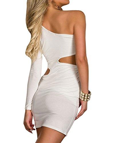 E-Girl Sexy épaule unique robe mit seitlichen découpes blanc,Blanc,Taille unique Blanc