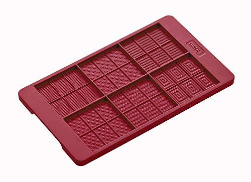 Lurch FlexiForm Schoko-Täfelchen 12 x 20,5 cm, Silikon, rubinrot, 21 x 17 x 1.7 cm