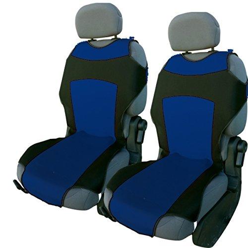 CSC302 - T-Shirt maglietta Schienali cuscino del sedile auto , copertura di sede dell'automobile , Seggiolino Auto Protector , Coprisedili nero / blu (1 coppia)