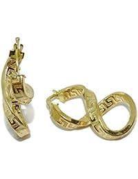 7eefb3b6b0d9 Pendientes aros de oro amarillo de 18k con greca y forma de infinito. 2.90cm
