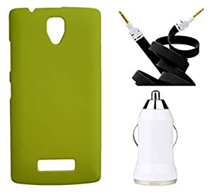Toppings Hard Case Cover With Aux Cable & Car Charger For Lenovo A2010 - Yellow