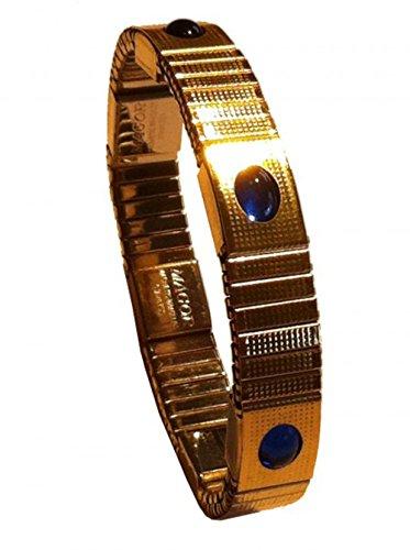 Magor Magnetarmband Magnet Armband mit 6 Magneten goldfarben mit 6 Schmucksteinen besetzt, Fb.:blau