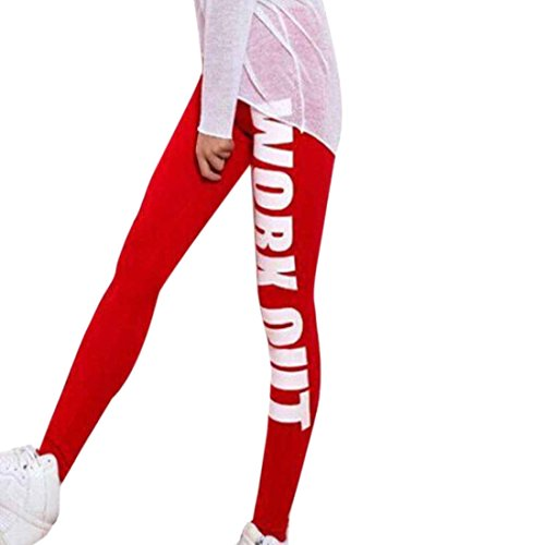 QIYUN.Z Just Do It/Workout Lettre Imprimee Femmes Pantalons De Fitness Mince De Yoga Calecons De Sport Rouge - Work out