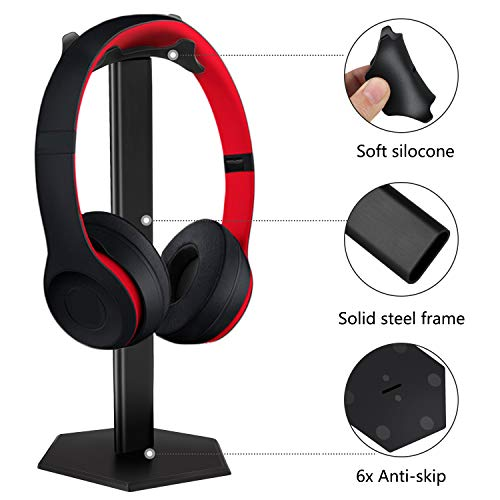Kopfhörerständer, Minkle Universal Kopfhörerhalter für Over Ear Kopfhörer, aus Aluminium + TPU + ABS , Schwarz - 2