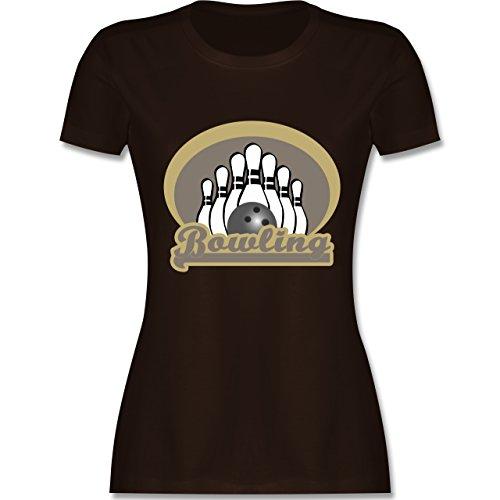 Bowling & Kegeln - Bowling Old School - tailliertes Premium T-Shirt mit Rundhalsausschnitt für Damen Braun