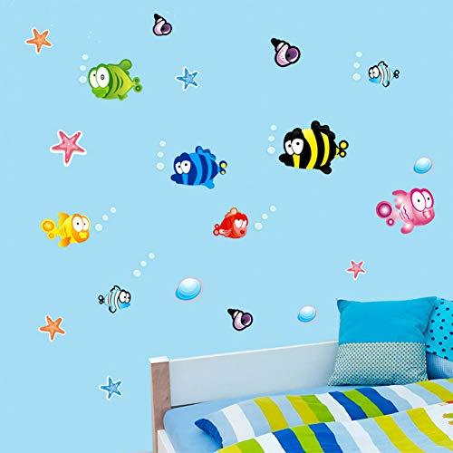 YRHT Wandsticker Unterwasser Fisch Seestern Blase Wandaufkleber Für Kinderzimmer Cartoon Kindergarten Bad Kinderzimmer Wohnkultur Wandtattoos,A1 -
