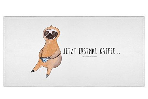Mr. & Mrs. Panda 50 x 100 Handtuch Faultier Kaffee - 100% handmade in Norddeutschland - Faultier, Faultiere, faul, Lieblingstier, Kaffee, erster Kaffee, Morgenmuffel, Frühaufsteher, Kaffeetasse, Genießer Handtuch, Badehandtuch, Badezimmer, Gästehandtuch
