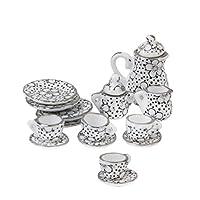 mi ji 1/12 Dollhouse Miniature Dining Ware Porcelain Tea Set Pot Cup Dish Set of 15 Daisy Pattern