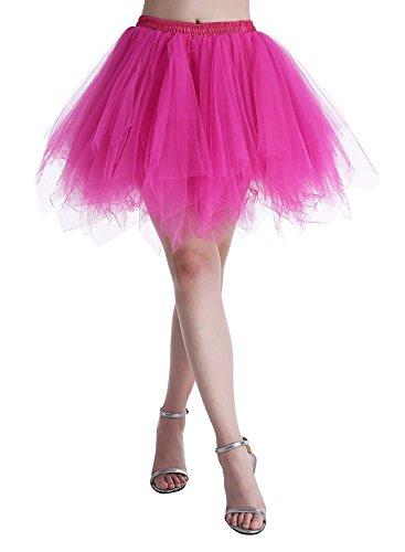 Karneval Erwachsene Damen 80's Tüllrock Tütü Röcke Tüll Petticoat Tutu Rose (80er-jahre-rose)
