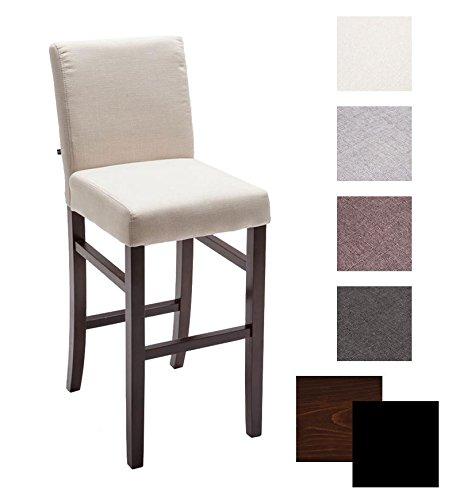 CLP Sgabello da bar ALVIN in legno con fodera in tessuto, altezza della seduta 75 cm, con 11,5 cm di spessa imbottitura, colori a scelta colore del legno cappuccino, fodera crema