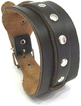 Styleziel Armband Herren Männer Lederarmband echt Leder Vintage look Braun Nieten Breit 22 cm 2090