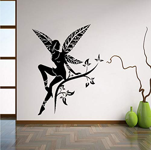 Wiwhy Wilde Blume Fairy Tree Wings Wandtattoo Aufkleber Transfer Schablone Wandbild Kunst Wandaufkleber Wand-Dekor Für Kinderzimmer Kinderzimmer 56X73Cm (Wings Fairy Diy Halloween)