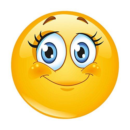 #detailverliebt Smiley-Mauspad Lady I DV_344 I Ø 22 cm Rund I Happy Emoticon Mousepad Wimper Grinsen Smile I Maus-Unterlage Süß Gelb Rutschfest Standard-Größe