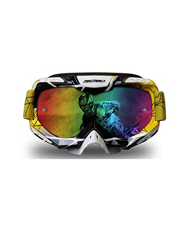 WYSTAO UV-Schutzbrille Staubschutz Motorradbrille Ski Snowboard Motorschlitten Anti-UV-Fahrrad Fahren Langlaufbrille gelbe Brille (Color : Two)
