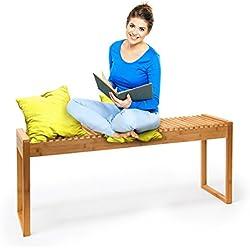 Relaxdays 10019025 - Banco, bambú, 47 x 120 x 33 cm, 5.6 kg, color natural