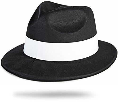 Al Capone Mafia Gangster Hut Schwarz mit Weissen Hutband