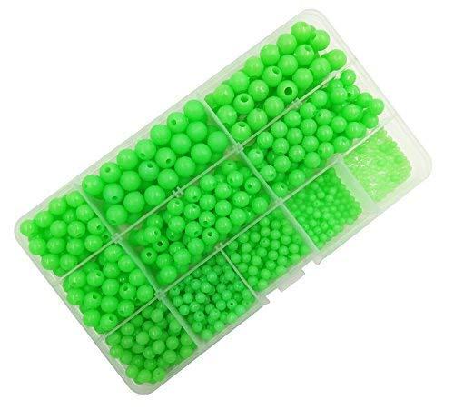 milepet Luminous Glow Angeln Beads, Hard Kunststoff Runde Form Angeln Eier, Sortiment grün Meer angeln Fishing Tackle Schwimmende Tools Eier, 820pcs/Box 10Größe -