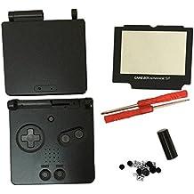 Meijunter Reemplazo Cubierta de la carcasa Housing Shell Case Cover con Lente de la pantalla & Destornilladores para Nintendo Gameboy Advance SP GBA SP Consola (negro)