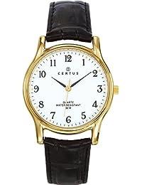 Certus - 611240 - Montre Homme - Quartz Analogique - Cadran Blanc - Bracelet Cuir Noir