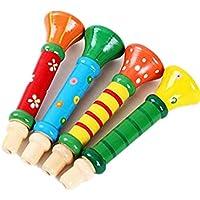 CAOLATOR Pequeños Juguetes de Trompeta de Madera para Niños Jugando Instrumentos Silbato para Educación Infantil Temprana (Color Aleatorio)