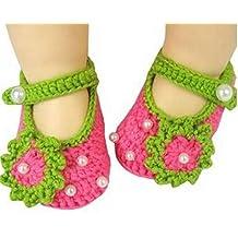 RFGTYBDD Delicado Recién Nacido, Crochet, Punto, Flores, Perla, Sandalias, niño