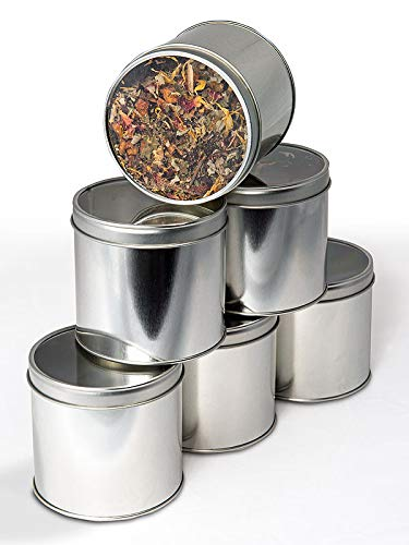6 Teedosen für losen Tee 100g mit Sichtdeckel rund silber Set Aromadeckel Silber Tee-set