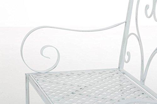 CLP Gartenbank SALIM im Landhausstil, aus lackiertem Eisen, 107 x 50 cm – aus bis zu 6 Farben wählen Antik Weiß - 7