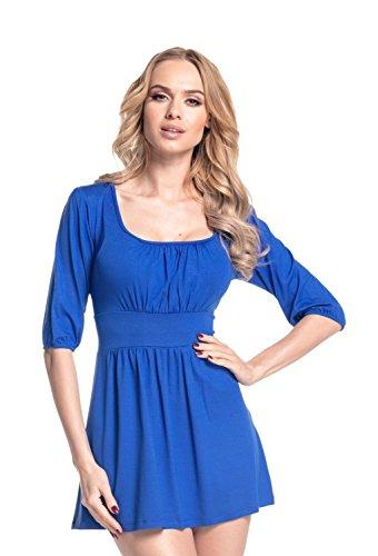 Glamour Empire Donna Vestito con gonna corta e scollatura quadrata Tunica 940 Blu Royal
