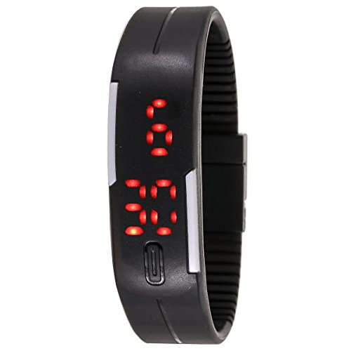 TLS TPU Band Red LED Digital black dial Unisex Watch -(TLS-DIGIBLACKB1G1)